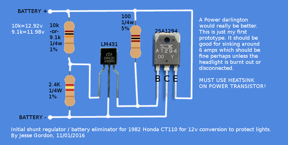 Above: The basic circuit design for a 12v shunt regulator/battery eliminator. Use a 10k if you want about 13v to make up for voltage loss in wires, ...